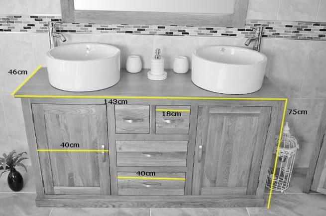 Big Vanity Unit with Oak Top & White Ceramic Bowls Dimensions