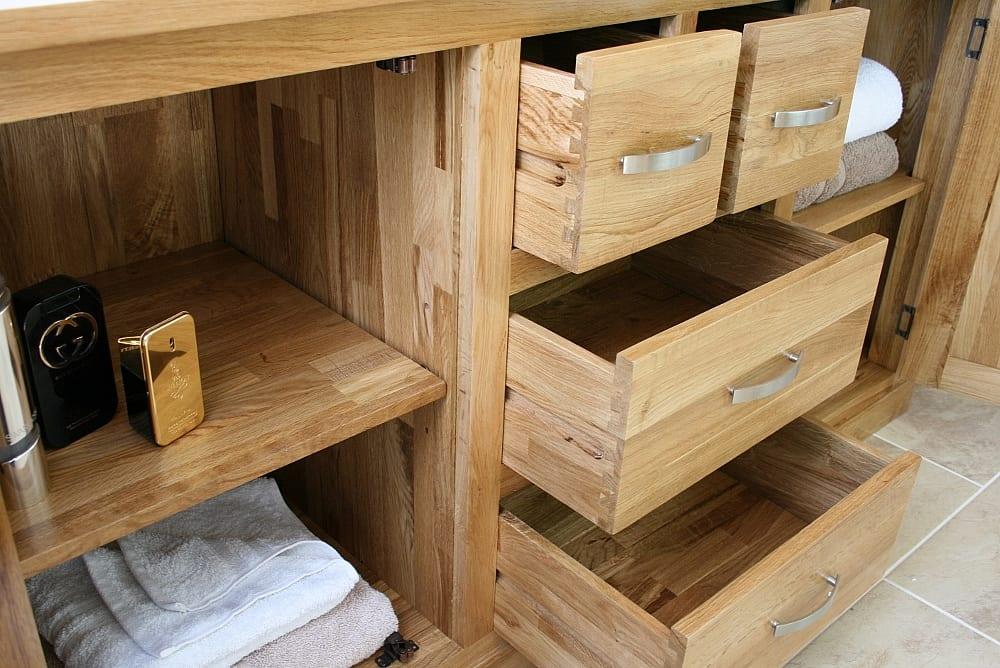 Oak Drawers Open Showing Storage in Large Oak Vanity Unit