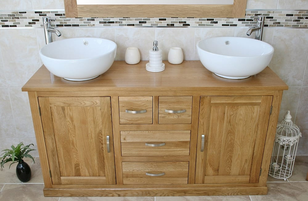 Two White Ceramic Round Basins on Large Oak Topped Vanity Unit - Front View