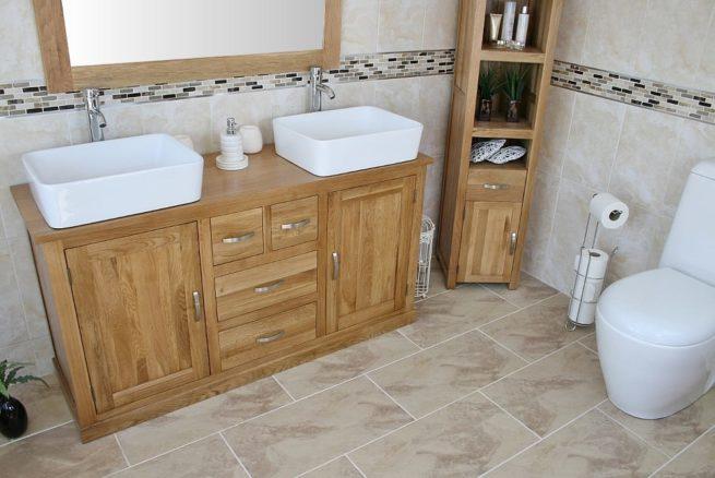 Large Oak Topped Vanity unit with Two White Ceramic Rectangle Basins