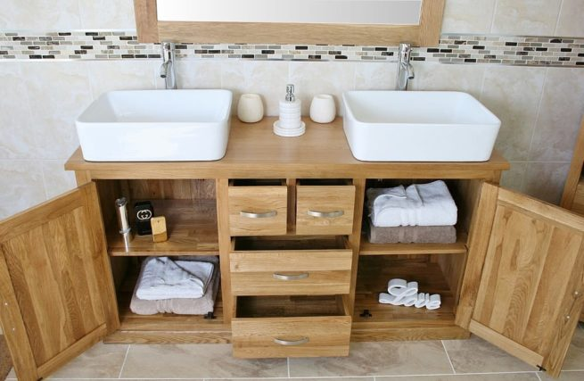 Showing all Storage in Large Oak Topped Vanity Unit with White Ceramic Rectangle Basins