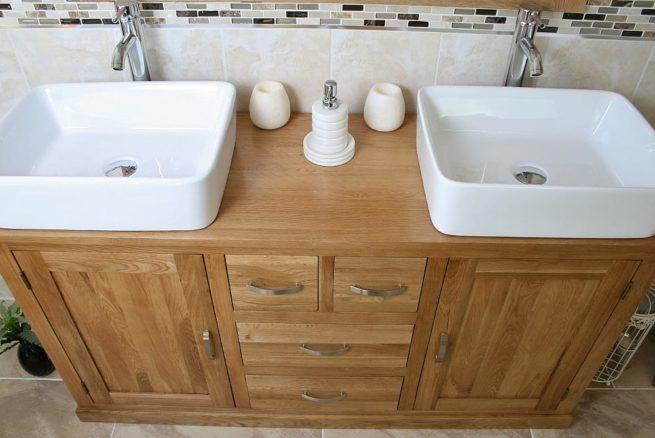 Close-Up View of Two White Ceramic Rectangle Basins on Large Oak Vanity Unit