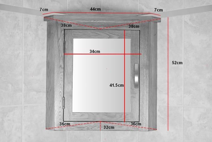Oak Mirror Bathroom Cabinet - Measurements