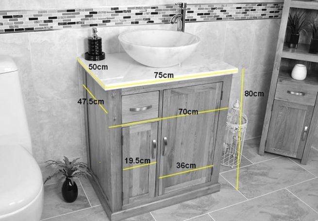 Vanity Unit with Grey Quartz Top - Measurements