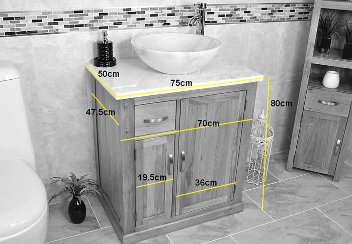 Black Quartz Top Vanity Unit & Stone Basin - Measurements