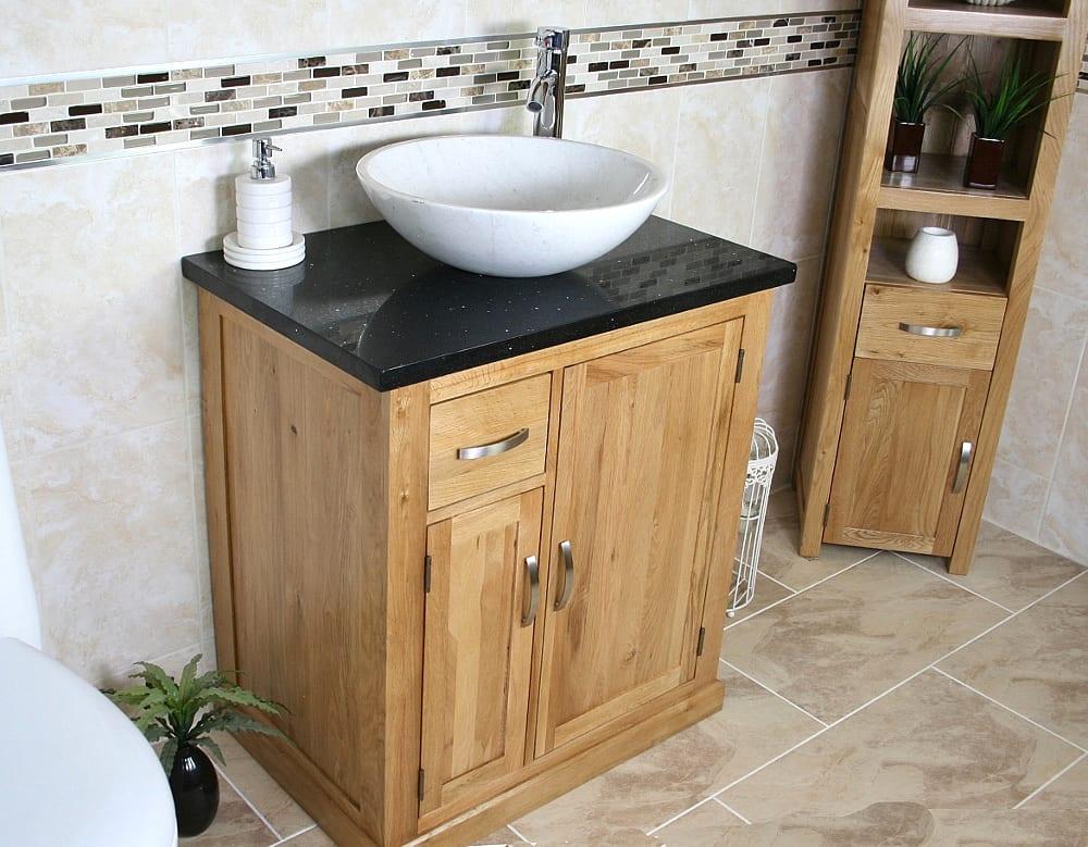 Oval White Ceramic Basin on Black Quartz Top Vanity Unit