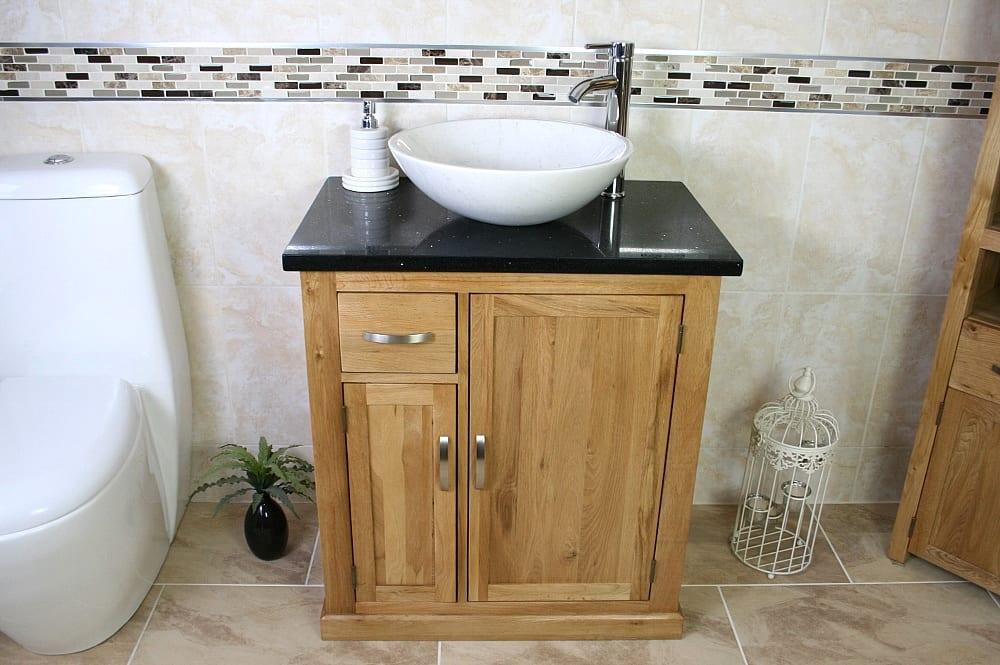 Black Quartz Top Vanity Unit with Oval White Ceramic Basin