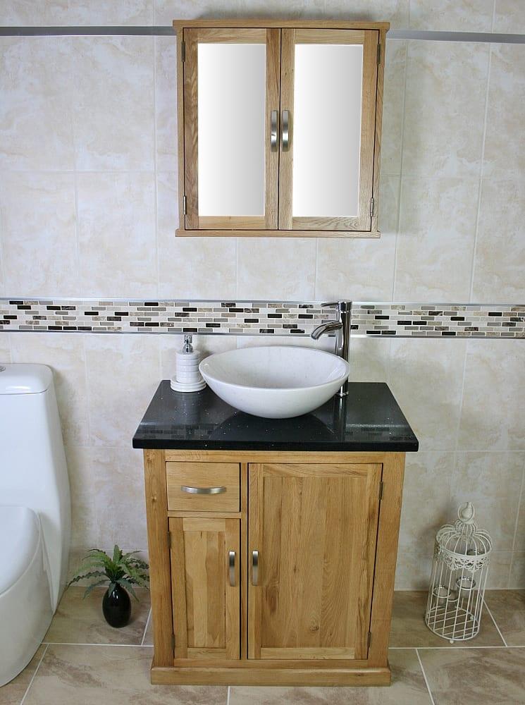 White Oval Ceramic Basin on Black Quartz Top Vanity Unit and Oak Mirror Cabinet