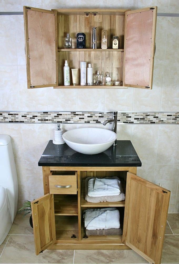 Black Quartz Top Vanity Unit and White Oval Ceramic Basin with Oak Cabinet - Showing Storage