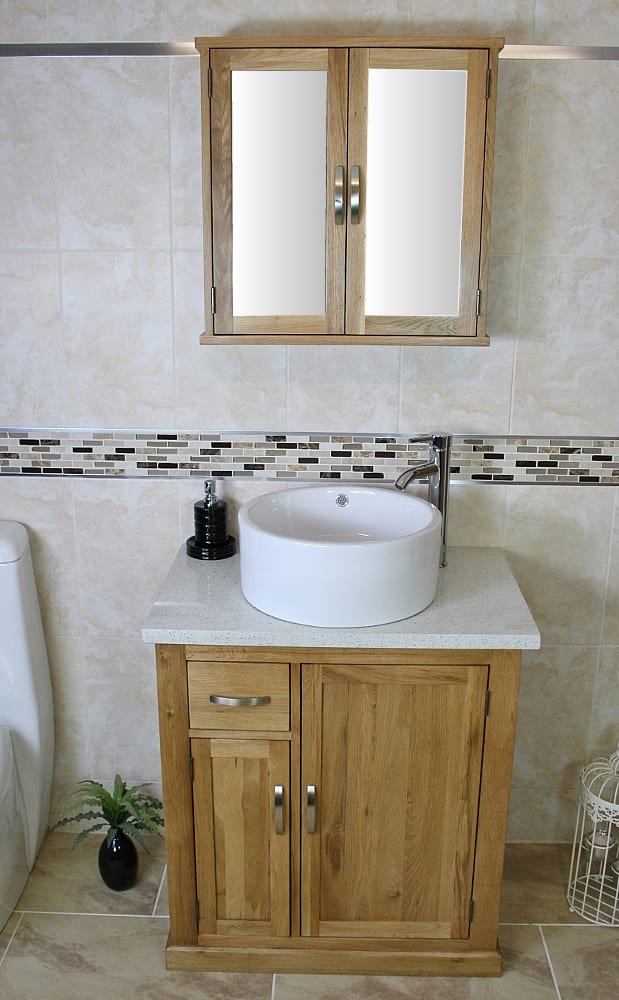 White Ceramic Basin on White Quartz Top Single Vanity Unit & Mirror Cabinet