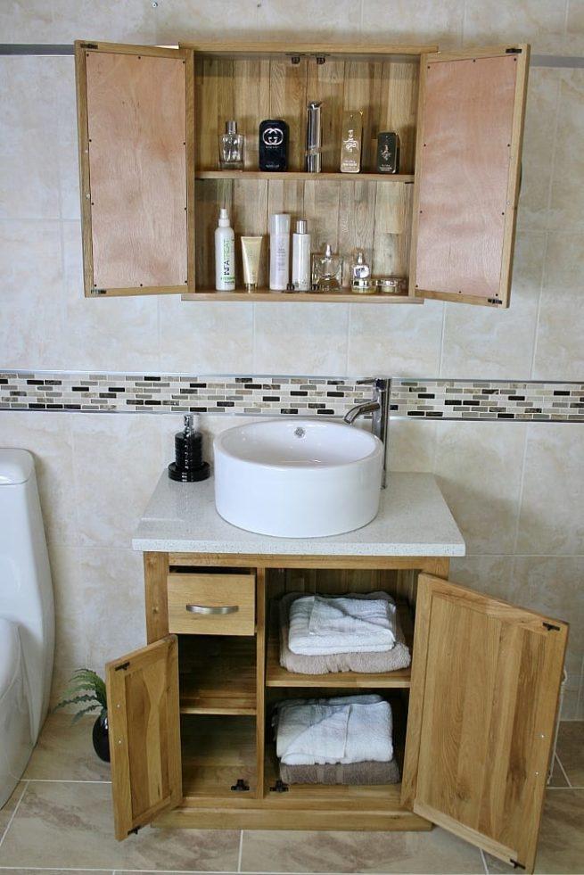 Round White Ceramic Basin on White Quartz Top Single Vanity Unit