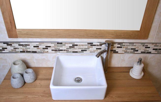 Square White Ceramic Basin on Oak Top Vanity