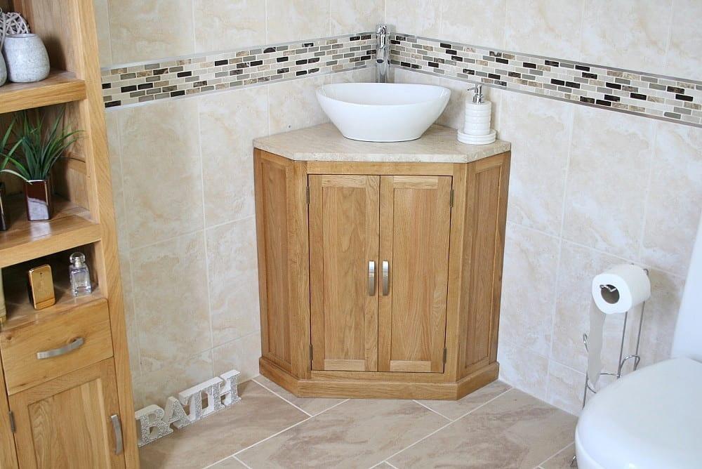 Travertine Top, Corner Vanity Unit with Oval Ceramic Bathroom Basin
