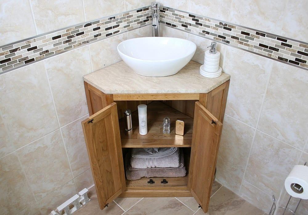 Corner Vanity Unit with Travertine Top & Oval Ceramic Wash Basin