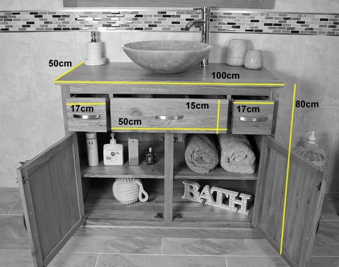 Single Basin Stone Top Oak Vanity Unit - Measurements