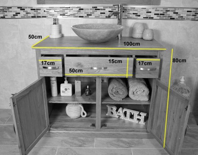 Measurements of Single Oak Top Vanity Unit with Basin