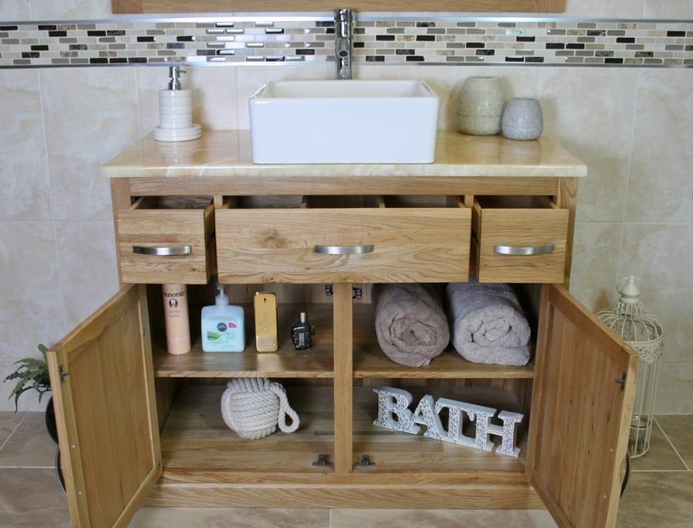 Golden Onyx Top Vanity Unit & White Ceramic Rectangle Basin - Showing Storage