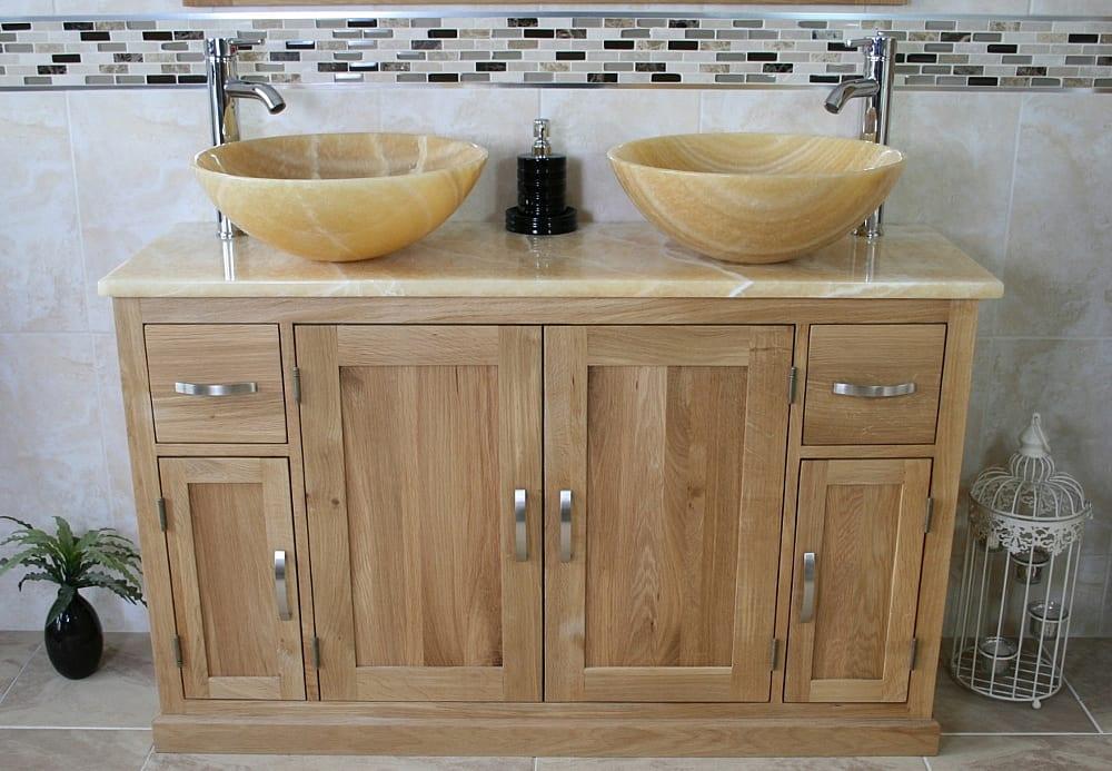Double Basin Golden Onyx Top Vanity Unit with Two Golden Honey Onyx Sinks