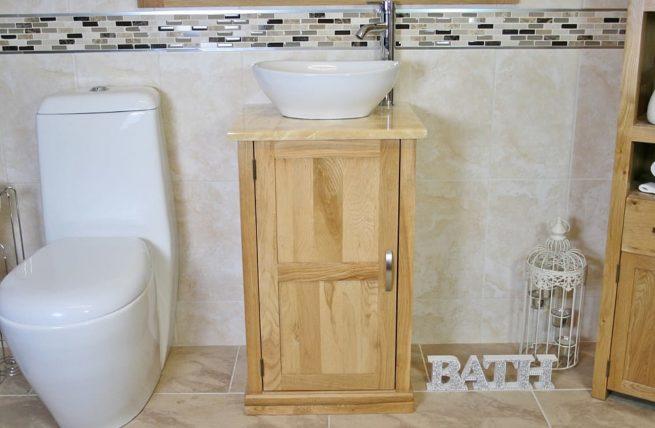 Oval Ceramic White Basin on Onyx Top Vanity Unit