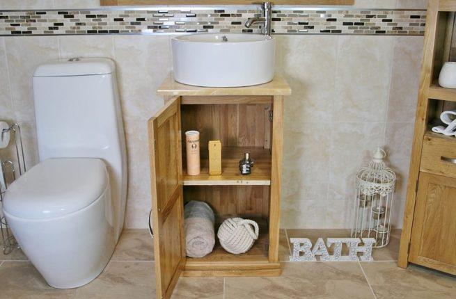 Open Onyx Top Vanity Unit with Round White Ceramic Basin Showing Storage