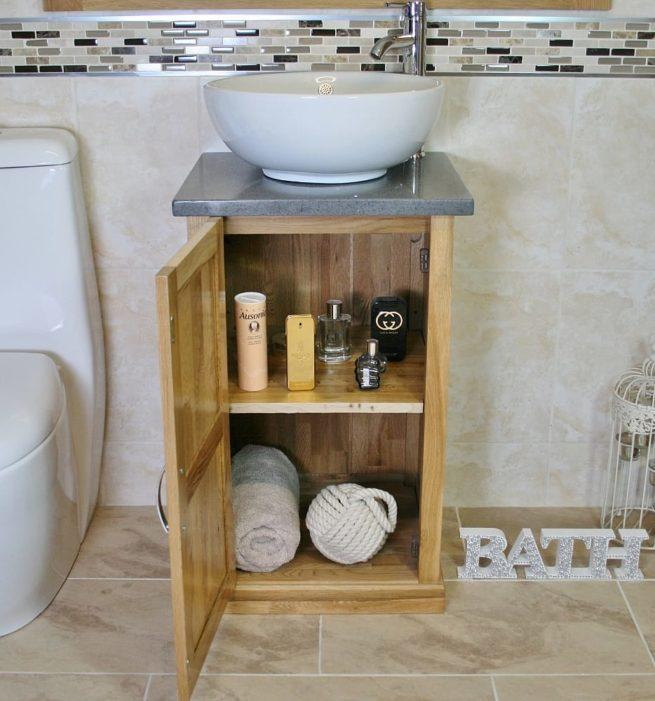 Compact Vanity Unit Showing Storage, Grey Quartz Top & Round Curved Ceramic Bathroom Basin