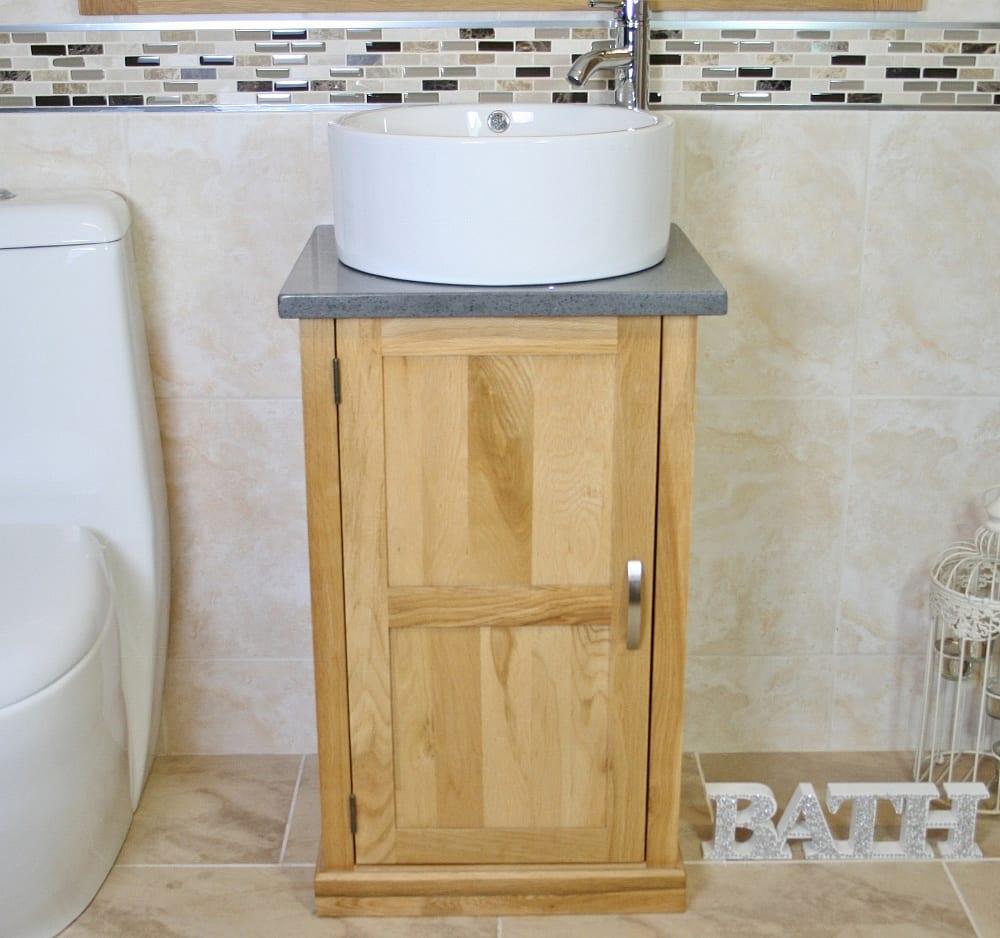 Grey Quartz Topped Small Vanity Unit with Round White Ceramic Basin