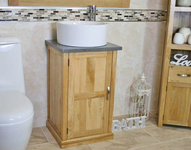 Round White Ceramic Basin on Grey Quartz Topped Compact Vanity Unit