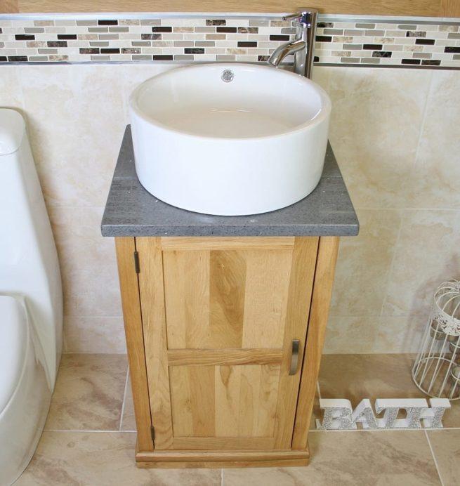 Round White Ceramic Basin on Grey Quartz Topped Compact Oak Vanity Unit