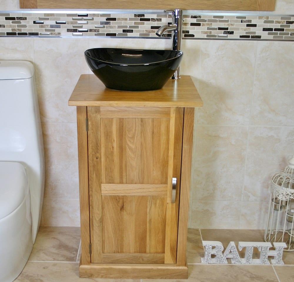 Oak Top Vanity Unit and Oval Black Ceramic Basin & Tap Set