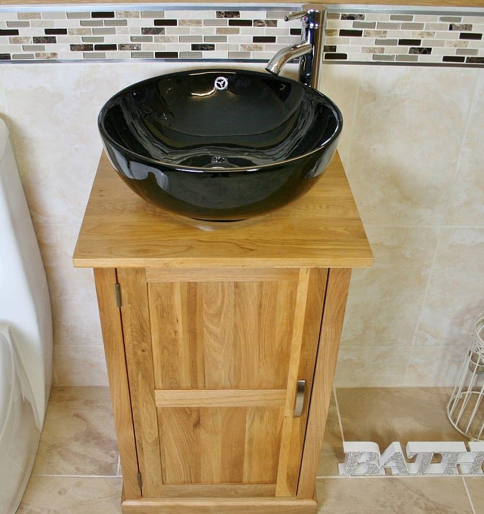 Oak Top Bathroom Vanity Unit & Round Black Ceramic Basin and Tap Set - Above View