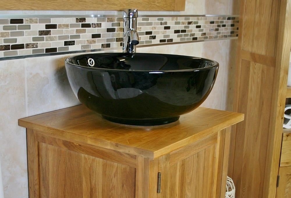Oak Top Bathroom Vanity Unit & Round Black Ceramic Basin - Close Up Side View