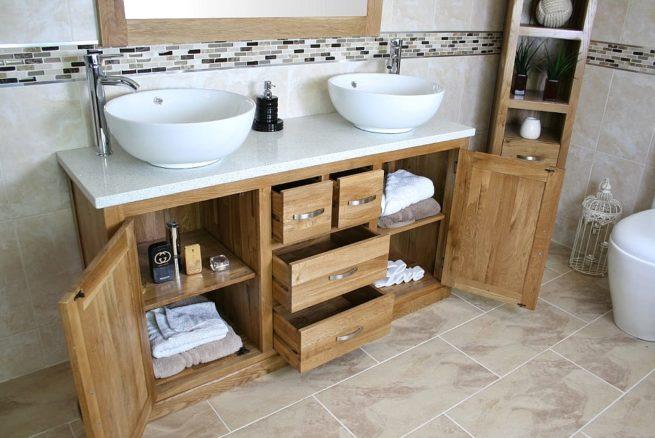 White Quartz Top Double Ceramic White Round Basin Vanity Unit - Side View Showing Storage