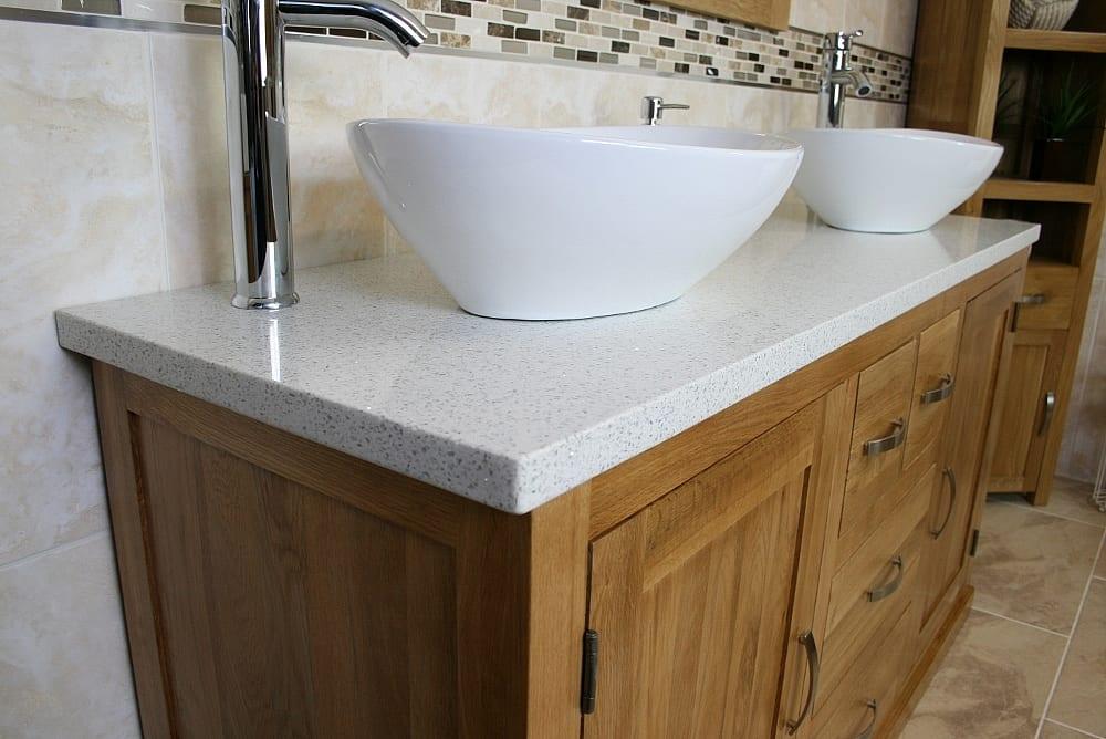 Close-up View of White Ceramic Basins on Large White Quartz Top, Oak Vanity Unit
