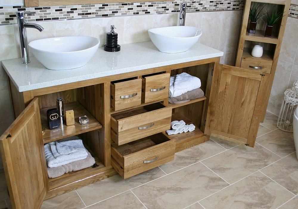 White Quartz Top, Double Ceramic Basin, Oak Vanity Unit - Showing Storage Side View