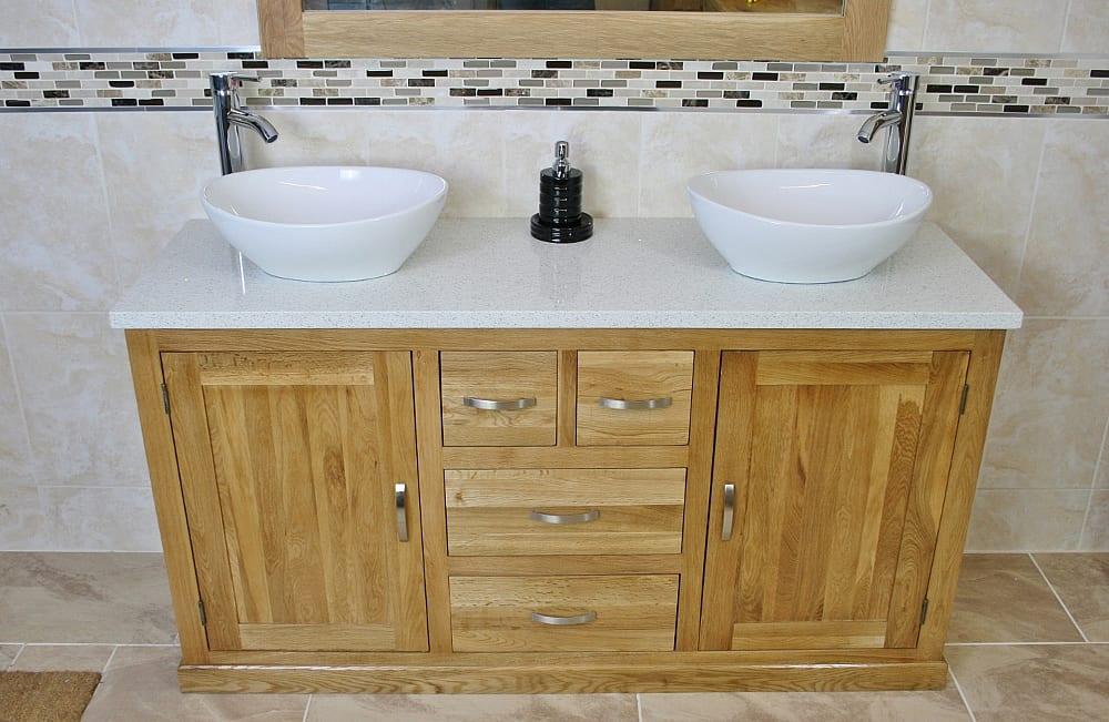 White Quartz Top Double Basin Oak Vanity Unit