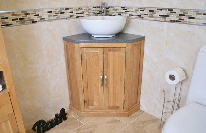 Round Curved Ceramic White Bathroom Basin on Grey Quartz Top Corner Vanity Unit