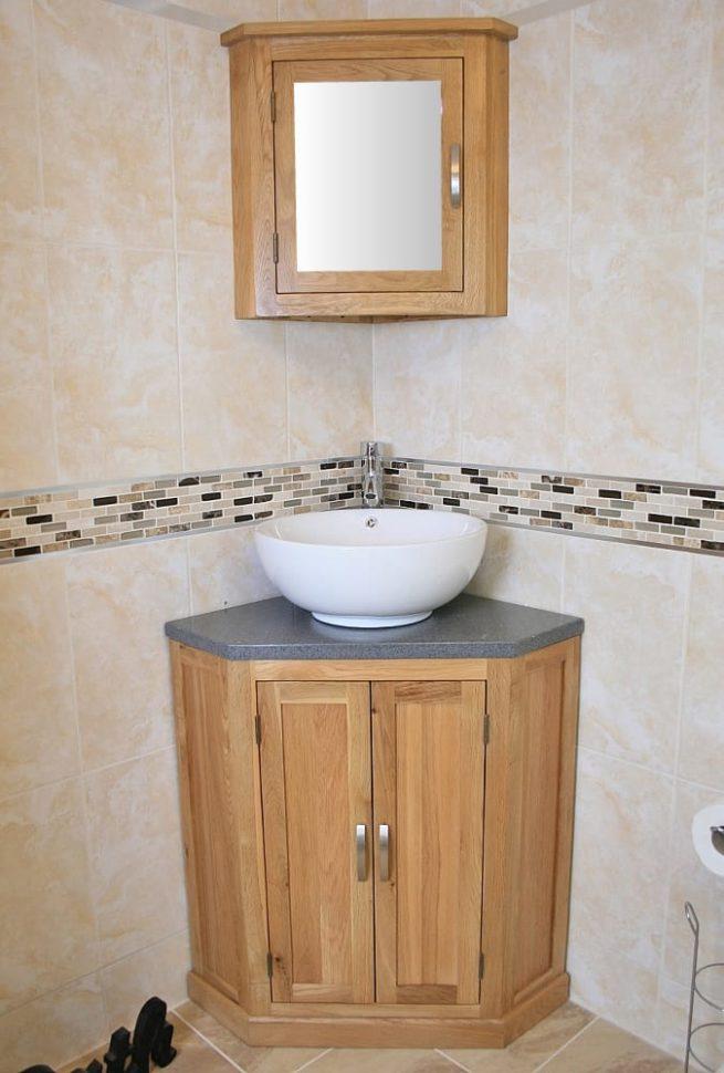 Corner Vanity Unit with Grey Quartz Top & Round Curved Ceramic Basin with Oak Mirror Bathroom Cabinet Set
