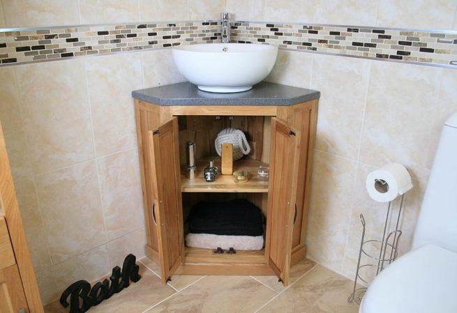 Open Corner Vanity Unit with Grey Quartz Top & White Round Curved Ceramic Basin