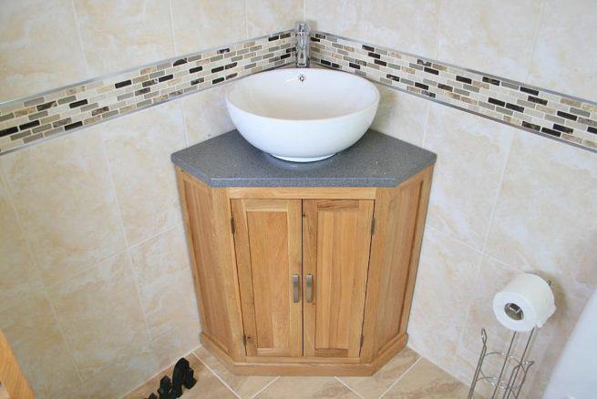 Corner Vanity Unit with Grey Quartz Top and White Round Curved Ceramic Bathroom Basin