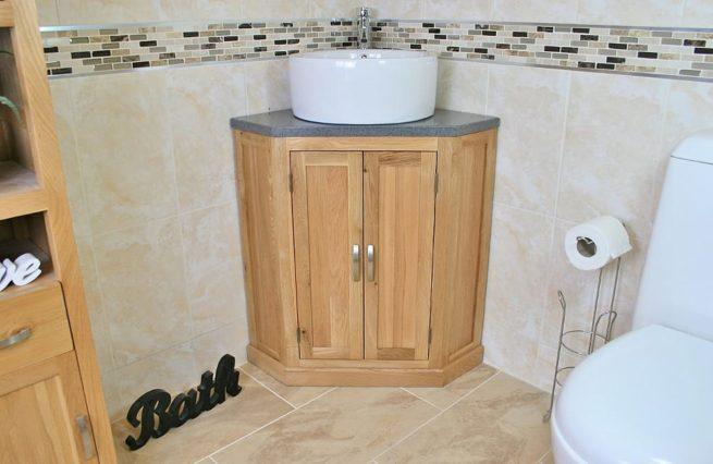 Grey Quartz Top Corner Vanity Unit with Round Ceramic White Basin