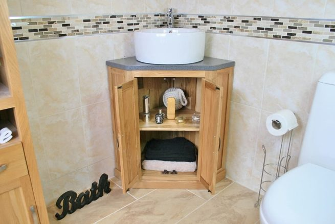 Corner Vanity Unit with Grey Quartz Top & White Round Ceramic Basin and Storage