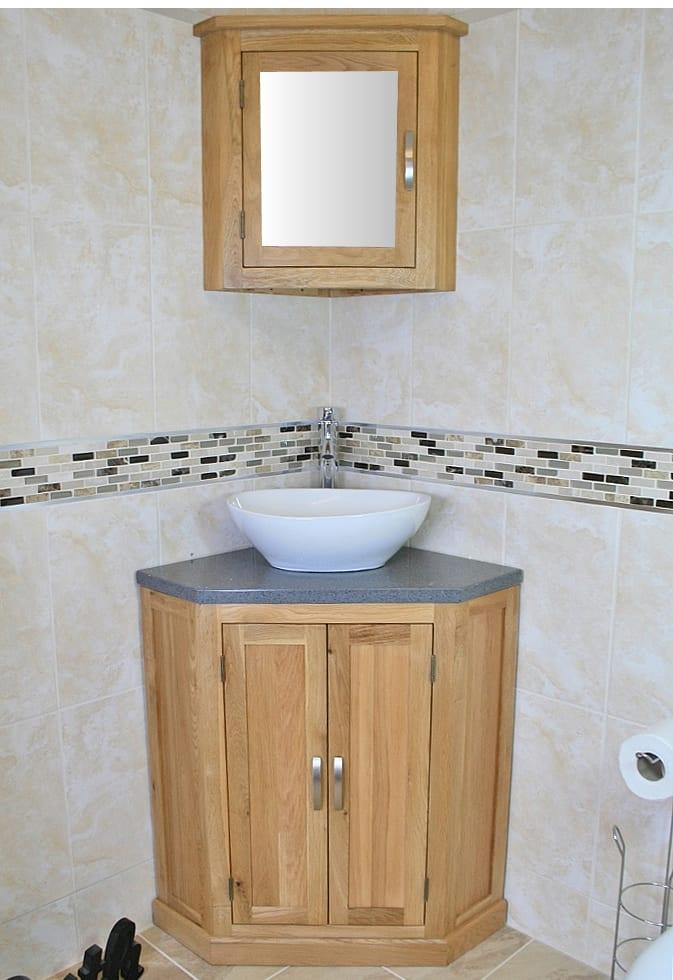 Oval White Ceramic Basin on Grey Quartz Topped Corner Vanity Unit & Oak Mirror Bathroom Cabinet