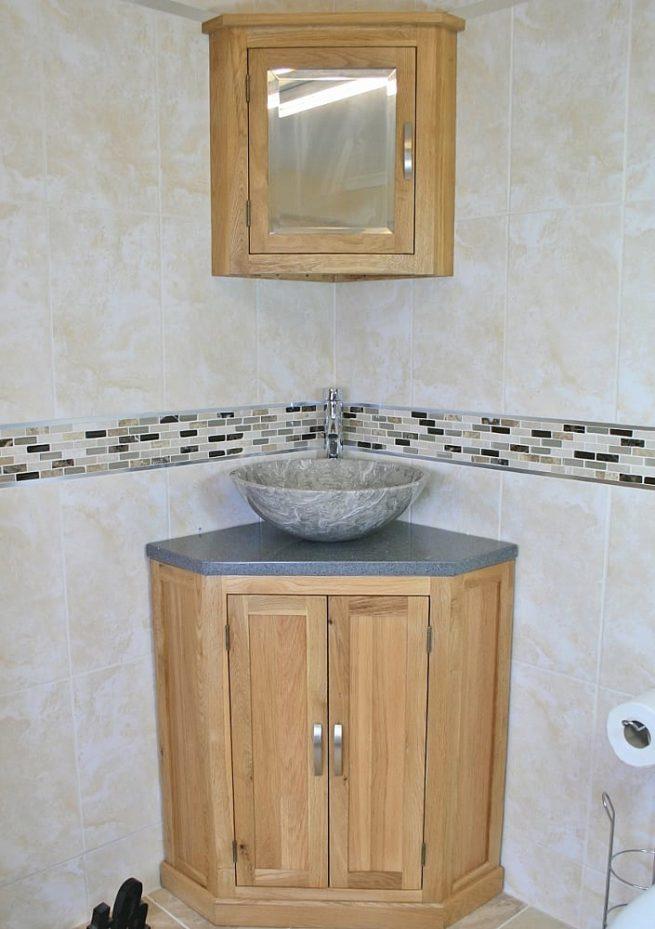 Corner Single Basin Vanity Unit with Grey Quartz Top & Basin