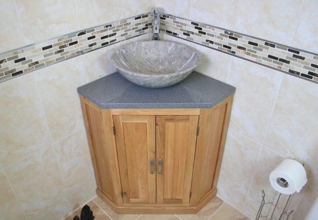 Overview of Grey Quartz Top Corner Vanity Unit with Grey Basin