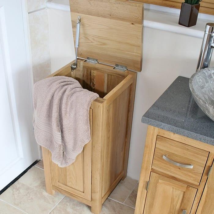 Solid Oak Laundry Bin 480