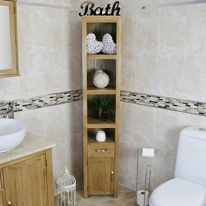 Solid oak bathroom furniture storage unit 499 for Tall bathroom shelf unit