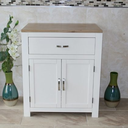 Painted Off White Cream   Oak Top Bathroom Storage Unit 502P. Oak Bathroom Cabinets  Storage Units   Bathroom Mirrors