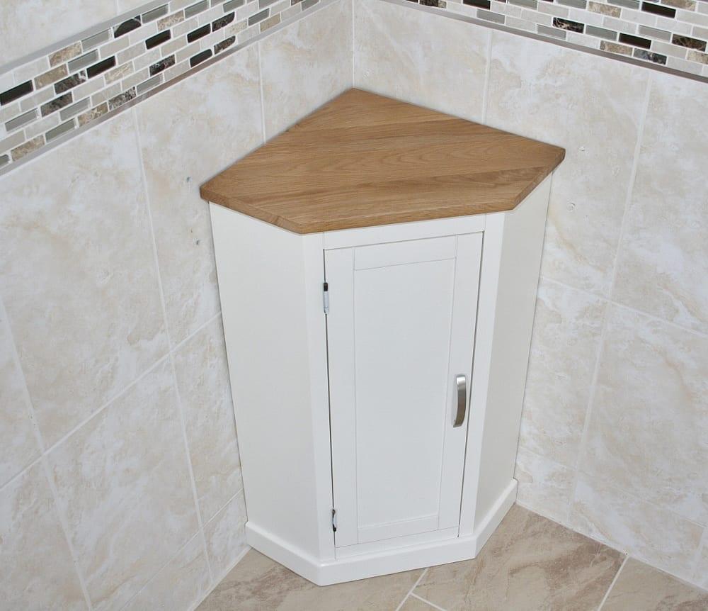 Painted off white cream oak corner painted bathroom - White bathroom corner shelf unit ...