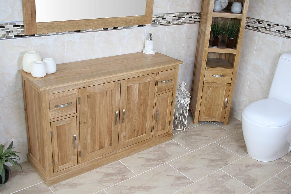 Large Solid Oak Bathroom Storage Unit