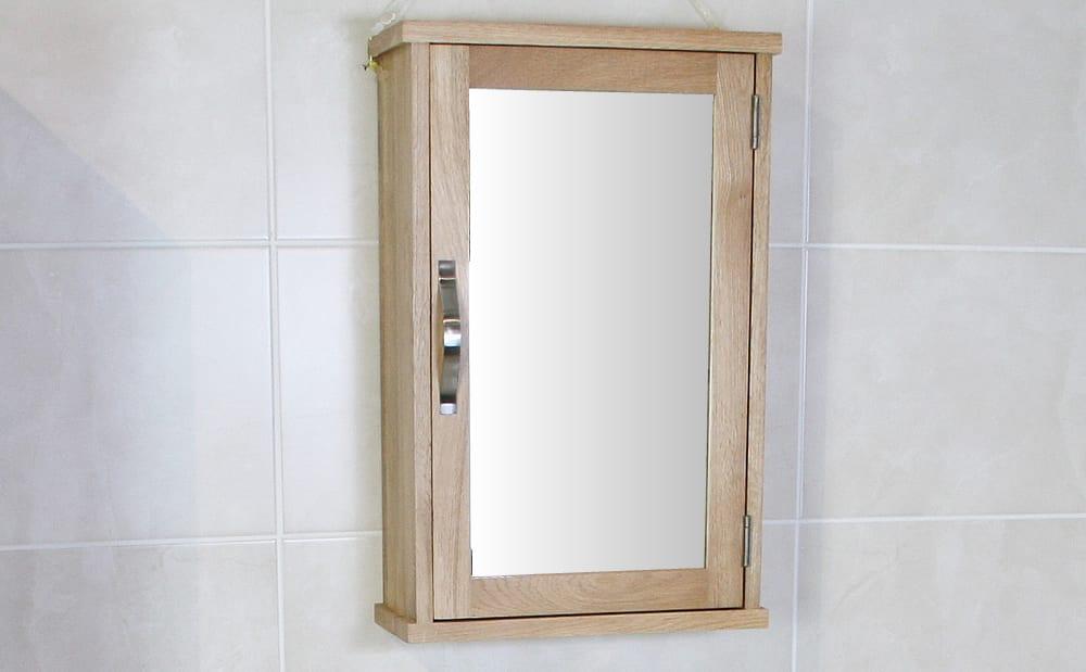 Mirrored Oak Bathroom Cabinet